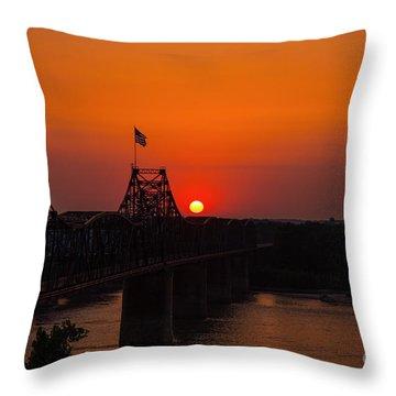 Sunset At Vicksburg Throw Pillow