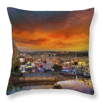 Sunset At Victoria Inner Harbor Fisherman's Wharf Throw Pillow by David Gn