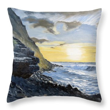 Sunset At Warren Point Duckpool Throw Pillow