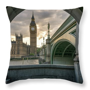 Sunset At Westminster Throw Pillow