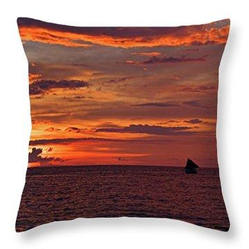 sunset at White Beach Throw Pillow