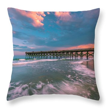 Throw Pillow featuring the photograph Sunset At Wilmington Crystal Pier In North Carolina by Ranjay Mitra