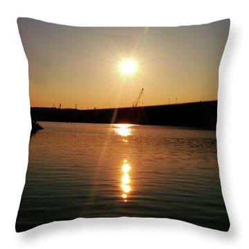 Sunset At Wolf Creek Dam Throw Pillow