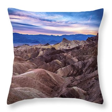 Sunset At Zabriskie Point In Death Valley National Park Throw Pillow