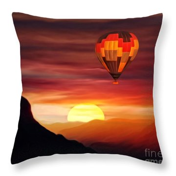 Sunset Balloon Ride Throw Pillow