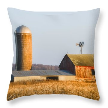 Throw Pillow featuring the photograph Sunset Barn by Dan Traun