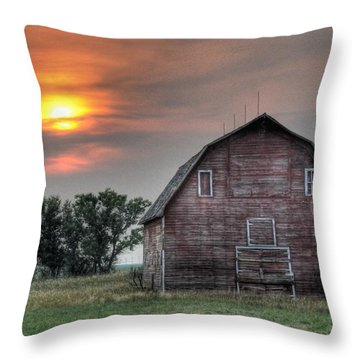 Sunset Barn Throw Pillow