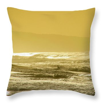Sunset Beach Aglow  Throw Pillow