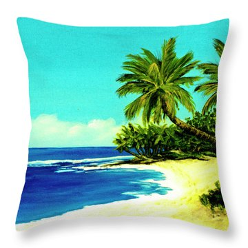Sunset Beach Art North Shore Of Oahu In Summer #100 Throw Pillow by Donald k Hall