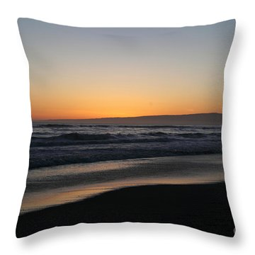 Sunset Beach California Throw Pillow by Amanda Barcon