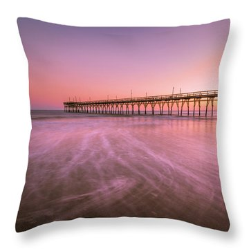 Throw Pillow featuring the photograph Sunset Beach Fishing Pier In The Carolinas At Sunset by Ranjay Mitra