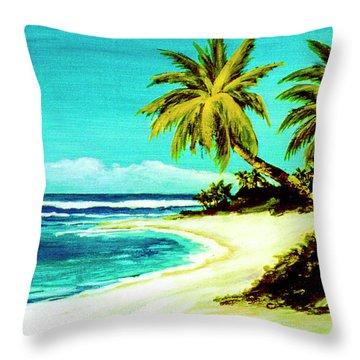 Sunset Beach Hawaiian #113 Throw Pillow by Donald k Hall