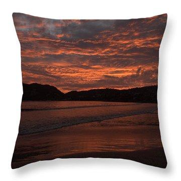 Sunset Beach Throw Pillow by Jim Walls PhotoArtist