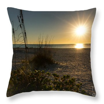 Sunset Beach Throw Pillow by Rebecca Hiatt