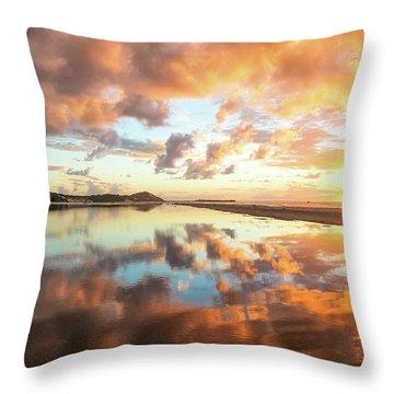 Sunset Beach Reflections Throw Pillow