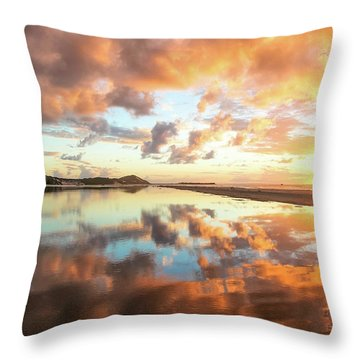 Sunset Beach Reflections Throw Pillow