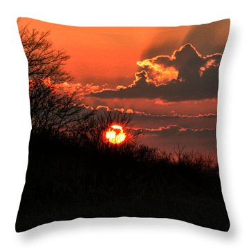Throw Pillow featuring the photograph Sunset Behind A Knoll by William Selander