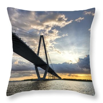 Sunset Behind Arthur Ravenel Jr Bridge Charleston South Carolina Throw Pillow by Dustin K Ryan