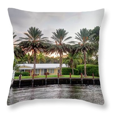 Sunset Behind Residential Palms Throw Pillow