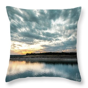 Sunset Behind Small Hill With Storm Clouds In The Sky Throw Pillow