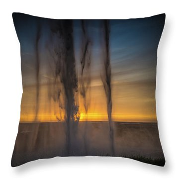 Sunset Behind The Waterfall Throw Pillow by Chris McKenna