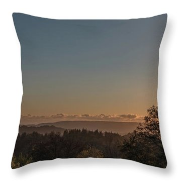 Sunset Behind Tree With Forest And Mountains In The Background Throw Pillow