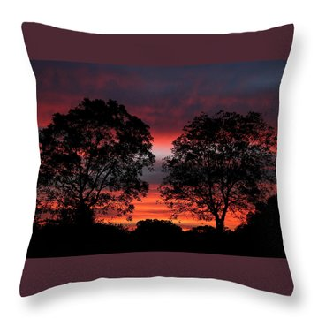 Sunset Behind Two Trees Throw Pillow by Sheila Brown
