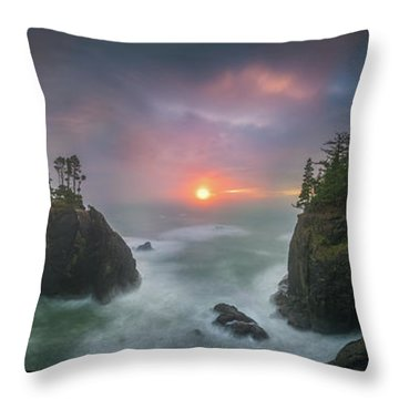 Throw Pillow featuring the photograph Sunset Between Sea Stacks With Trees Of Oregon Coast by William Lee