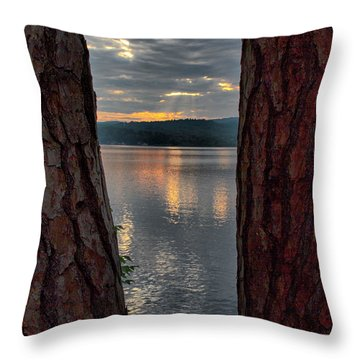 Throw Pillow featuring the photograph Sunset Between Trees  by Betty Pauwels