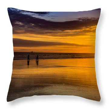 Sunset Bike Ride Throw Pillow