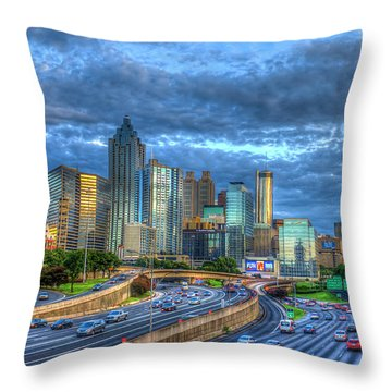 Throw Pillow featuring the photograph Sunset Blue Glass Reflections Atlanta Downtown Cityscape Art by Reid Callaway