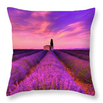 Sunset Blues Throw Pillow by Midori Chan