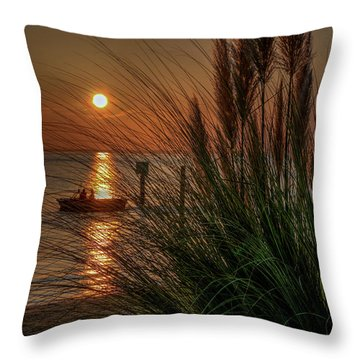 Sunset Boat Ride Throw Pillow