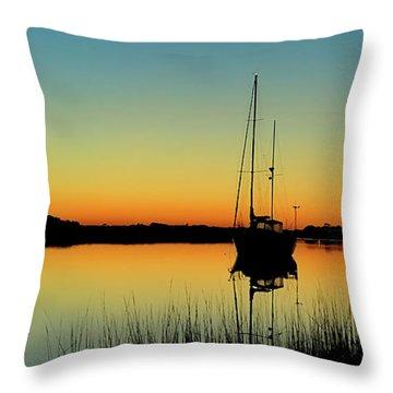 Sunset Bowens Island Throw Pillow