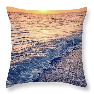 Throw Pillow featuring the photograph Sunset Bowman Beach Sanibel Island Florida Vintage by Edward Fielding