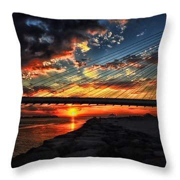 Sunset Bridge At Indian River Inlet Throw Pillow