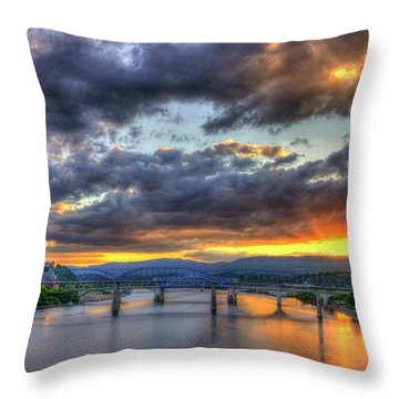 Sunset Bridges Of Chattanooga Walnut Street Market Street Throw Pillow