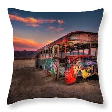 Sunset Bus Tour Throw Pillow