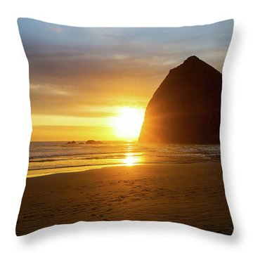 Sunset By Haystack Rock At Cannon Beach Throw Pillow by David Gn