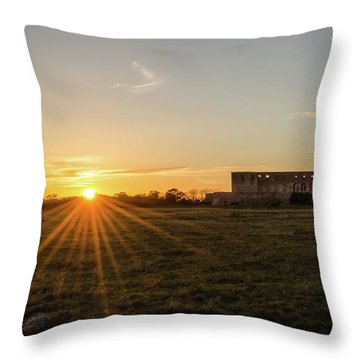 Throw Pillow featuring the photograph Sunset By Old Castle Ruin by Kennerth and Birgitta Kullman