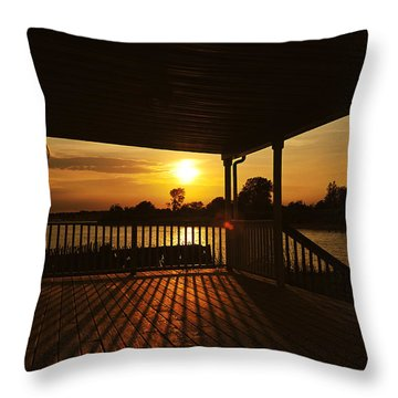 Sunset By The Beach Throw Pillow by Angel Cher