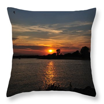 Throw Pillow featuring the photograph Sunset By The Inlet by Angel Cher