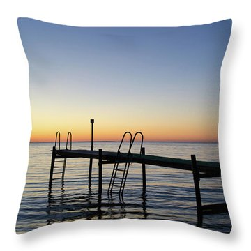 Sunset By The Old Bath Pier Throw Pillow