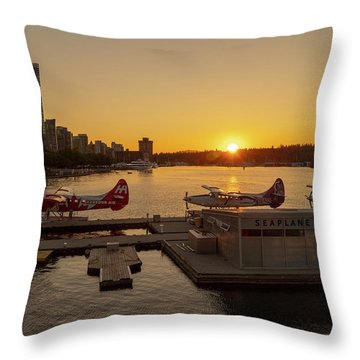 Sunset By The Seaplanes Throw Pillow