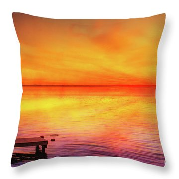 Throw Pillow featuring the digital art Sunset By The Shore by Randy Steele