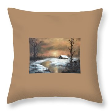 Sunset Cabin  Throw Pillow