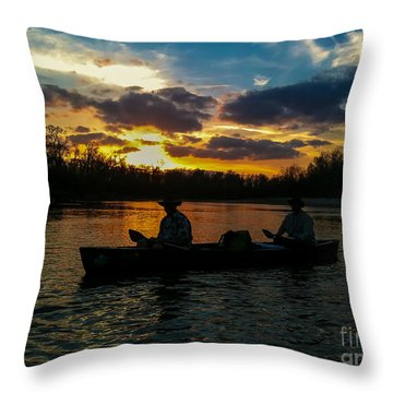 Sunset Canoe Expedition Throw Pillow by D Wallace