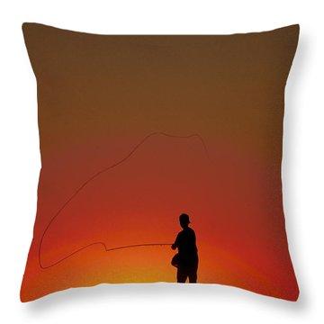 Sunset Casting Throw Pillow by John Greim
