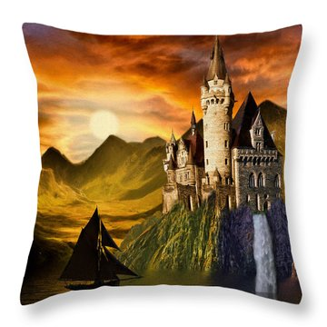 Sunset Castle Throw Pillow