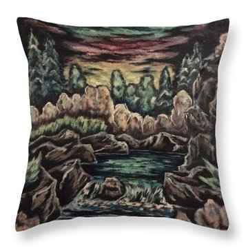 Throw Pillow featuring the painting Sunset by Cheryl Pettigrew